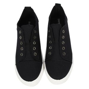 Black Canvas Laceless Slip On Sneaker